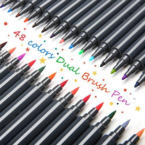 ARTISTPRE Dual Brush Pen Art Markers - 48-Colors - DUAL TIP Brush Pens Watercolor Markers - (Set of 48)  DUAL TIP DESIGN: Real brush pen set of 48 unique colors for sketching, drawing and calligraphy  HIGH QUALITY: Made of high quality nylon fur, good elastic, odorless and non-toxic, easy to wash off  SUITABLE FOR:These Makers pens are perfect for fine art techniques, card making, illustrations, sket  Water-based ink for watercolor efects,non-toxic, water-based, quick dry, dust-free, b...