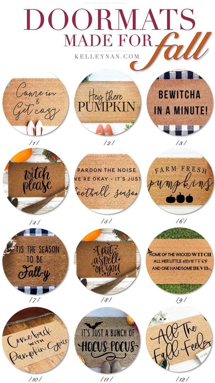12 Fun Fall Doormats To Dress Your Entry For The Season Kelley Nan Fall Doormat Halloween Door Mat Door Mat
