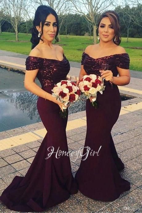 Bridesmaid Dresses, 2016 Mermaid Bridesmaid Dress ,Burgundy Sequin Top Bridesmaid Dress, wedding Guest dress HG1215
