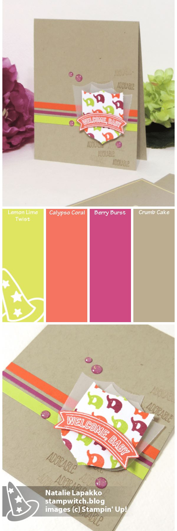 Baby cards by Natalie Lapakko featuring Badges and Banners and Tabs for Everything Stamps from Stampin' Up! Color Inspiration: Lemon Lime Twist, Calypso Coral, Berry Burst, Crumb Cake