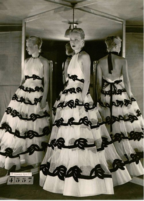 ~Evening Gown by Vionnet, August 1938~ 30s 40s black white sheer halter bows photo print ad model designer couture