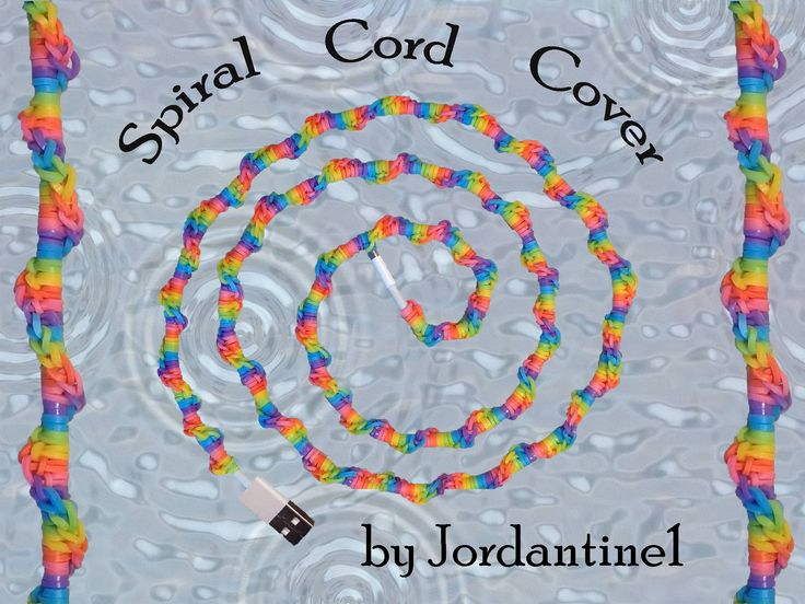 New Spiral Cord Cover - Hook Only / Loomless -Rainbow Loom - Easy - Charger / Earbuds