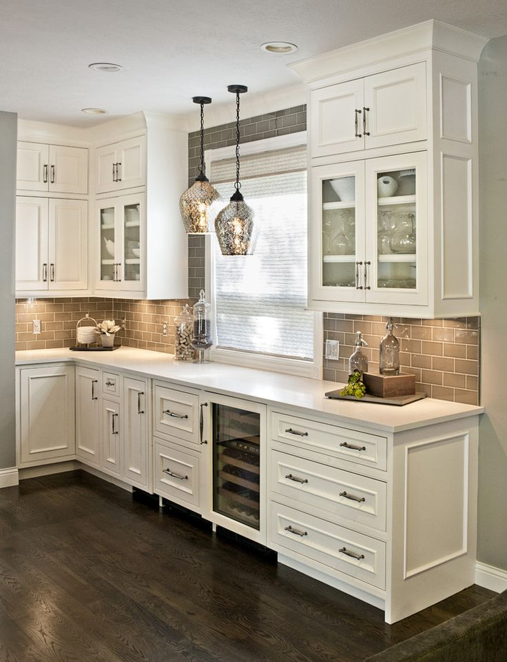 Grey Cabinets, Gray Cabinetry, Painted Kitchen Cabinets, Beverage Area,  Inset Door With