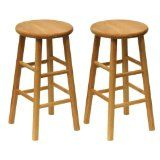 Backless All Wood Counter Stools w Natural Finish - 2 Pieces