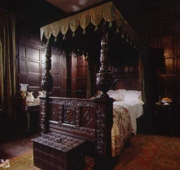 """On this day, November 1, 1590: """"The next morning, we talked in the recesses of our warm bed while the household stirred."""" SHADOW OF NIGHT.    image: The Green Bedroom, Speke Hall. A National Trust property in Liverpool. The model for the Old Lodge. via Deborah Harkness facebook"""
