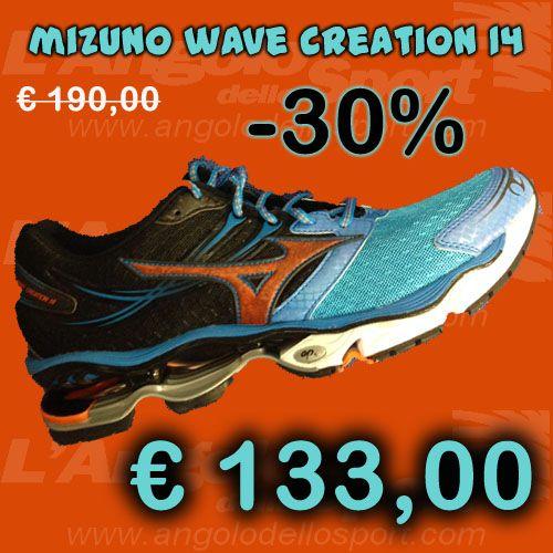 #Mizuno Wave Creation 14  Dynamotion Fit, Air Mesh con rinforzi in materiale sintetico. Plantare anatomico Premium estraibile. Tecnologia ammortizzante e stabilizzante Infinity Wave in Pebax Rnew. Il massimo della protezione e della morbidezza dell'avampiede per atleti di peso medio/alto che percorrono lunghe distanze.  Da € 190 sconto -30% a SOLO € 133!  http://buff.ly/1dBPxOY  #running #correre