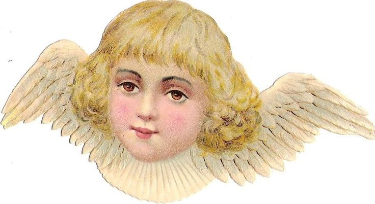 Oblaten Glanzbild scrap die cut chromo Engel 12 cm angel ange cherub head Kopf