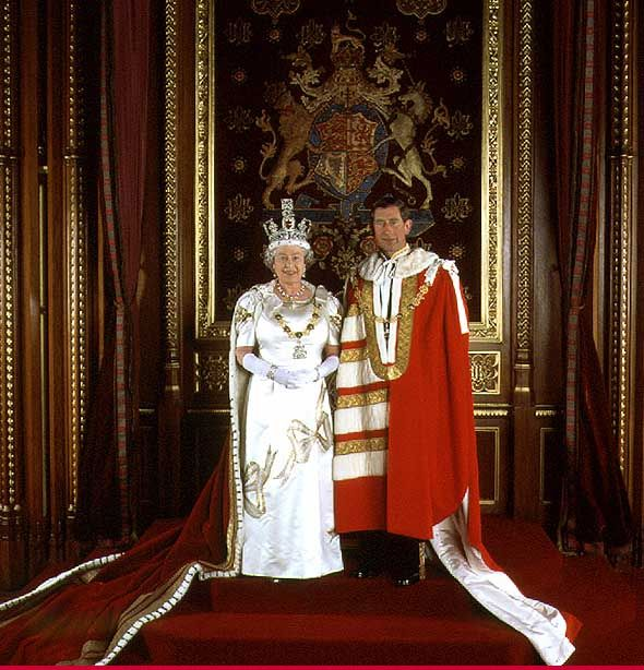 The Queen with the Prince of Wales in Parliamentary Robes