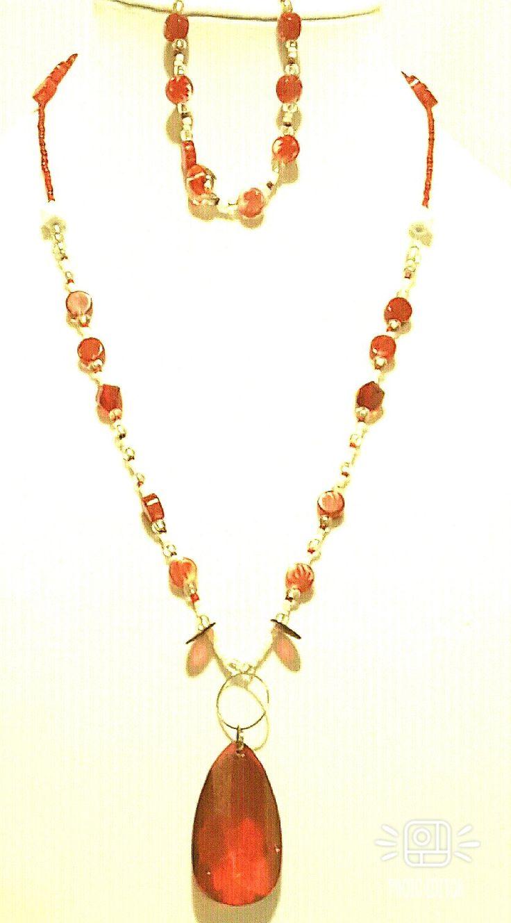 Red Pendant Flowerd Necklace-Anointed Handz Handmade Jewelry
