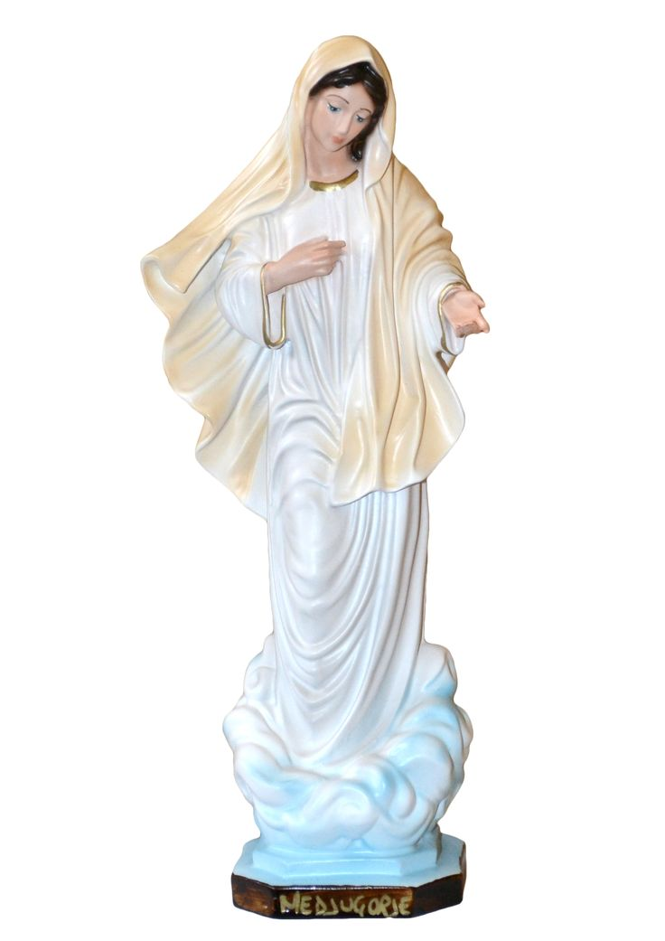 Our Lady of Medjugorje statue height 30 cm. in resin, hand painted with acrylic colors. Made in Italy