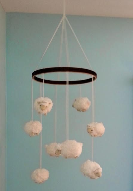 DIY Tutorial: DIY Nursery Mobiles / DIY Little Lamb Nursery Mobile - Bead&Cord the lambs are really sweet and cute