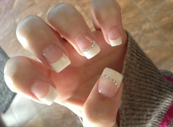 French nails with Stone <3
