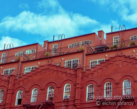 New York City Photography - Modern Brick Penthouses - Architectural - City Art - Urban Home Decor - Wall Art - Red - Blue