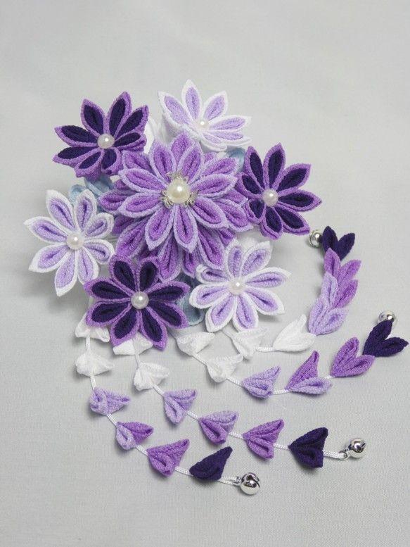 つまみ細工・花簪 淡紫|ヘアアクセサリー|和小物 藤乃|ハンドメイド通販・販売のCreema