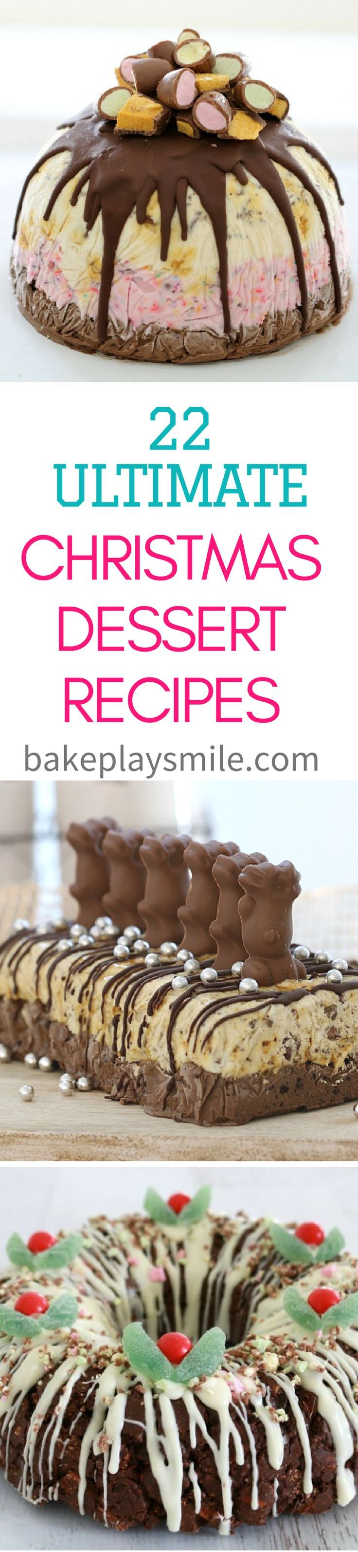 A collection of 22 of the ultimate Christmas dessert recipes.. these really are totally drool worthy! With everything from cheesecakes to chocolate ripple cakes, ice cream cakes to rocky road wreaths�� there really is something for everyone! #christmas #d