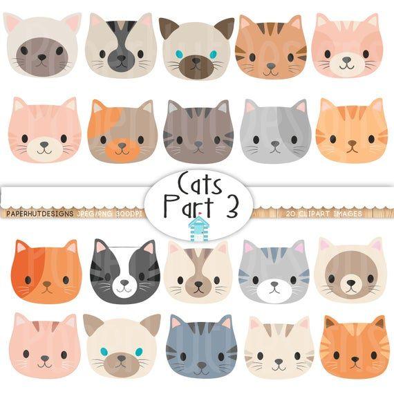Cat Faces Clipart Cute Kitten Faces Clipart Cat Clip Etsy In 2021 Cat Clipart Cat Face Clip Art