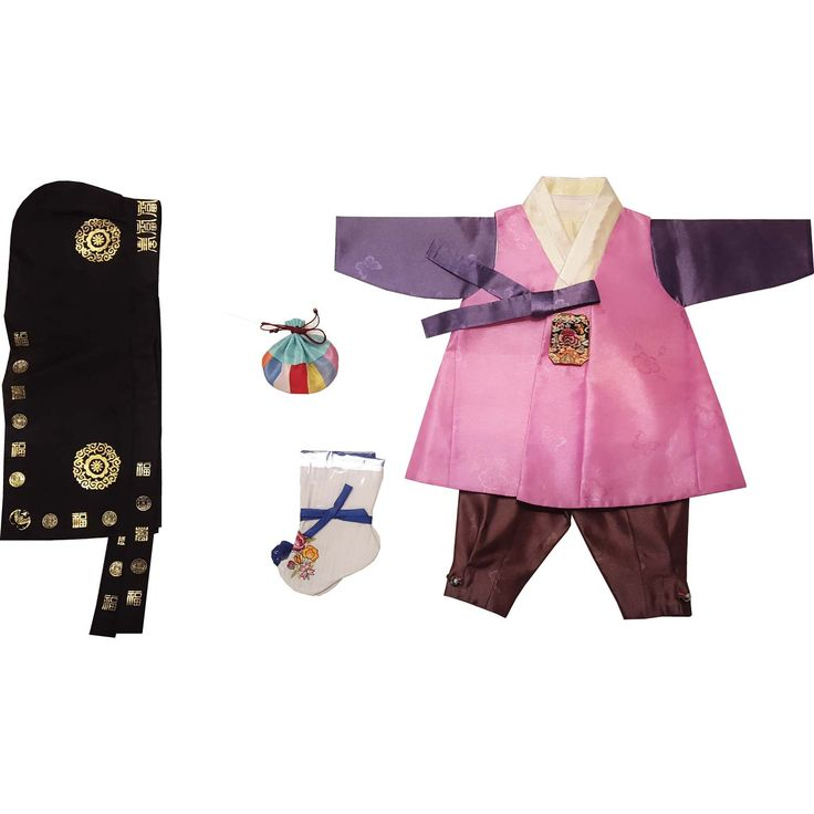 Pink with patch and Brown - Boy Dol Hanbok Set - 5 Pieces