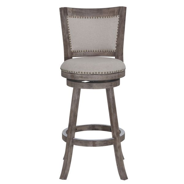 Make a statement with the Melrose Barstool. Accentuated with the attractive multistep wire-brush finish, soft linen upholstery and genuine brass nail heads. Both sides of the backrest are upholstered