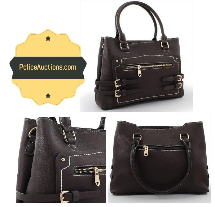 http://bit.ly/1LKpYhF:Beautiful Womens Brown Gold Toned Buckle Accent Dual Compartment Zip Top Closure Double Handle Designer Handbag