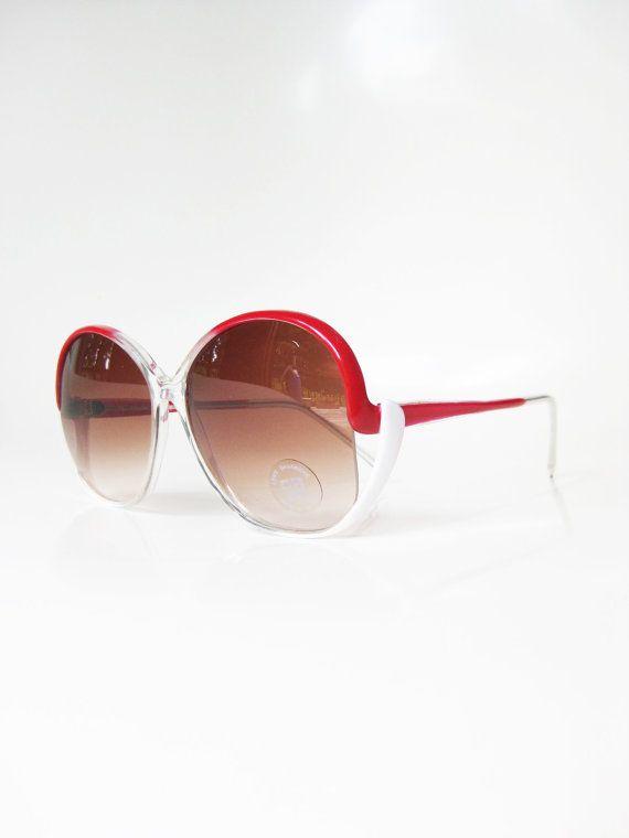Vintage Red Sunglasses 1970s Bright Crimson White Womens Ladies Boho Bohemian Chic 70s Seventies Oversized Huge Indie Hipster Beach