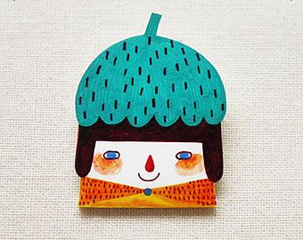 Carolina The Smiling Girl - Handmade Shrink Plastic Brooch or Magnet - Wearable Art - Made to Order