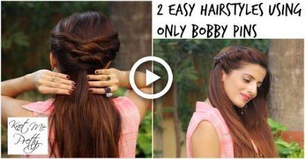 2 Coiffures Twist rapides et faciles pour l'école, le collège, le travail / les coiffures indiennes pour le niveau moyen / - #college #hairstyles #Indien #quick #school