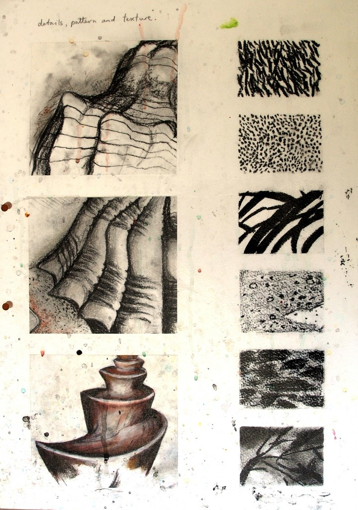 texture, showing different colors and sizes, strokes, and shading of charcoal.
