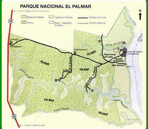 Mapa del Parque Nacional El Palmar