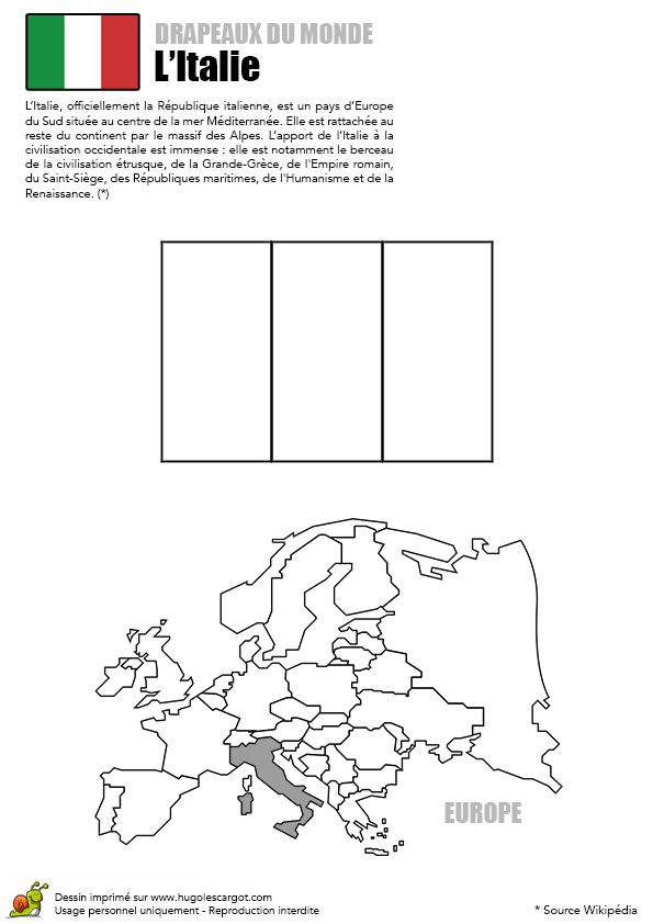 Coloriage Découverte Europe Drapeau L'Italie - Hugolescargot.com