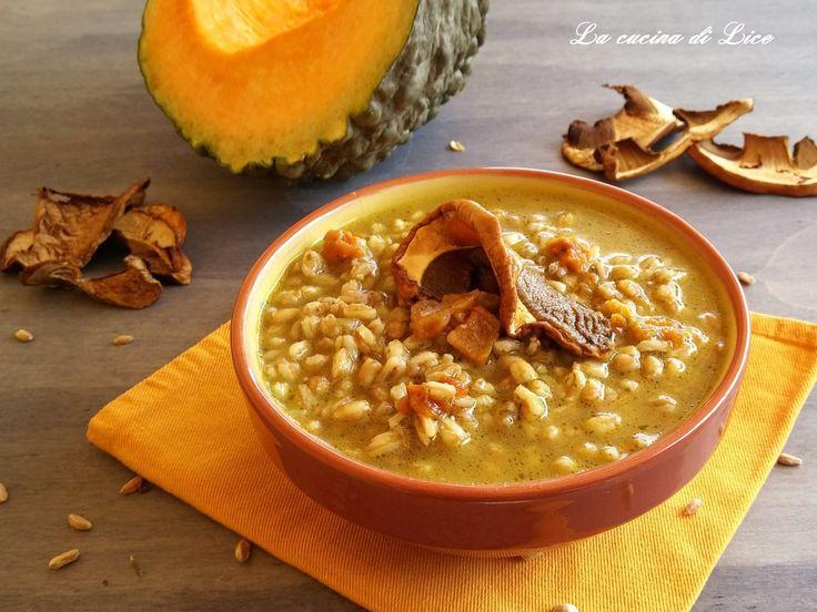 Zuppa di farro con zucca e porcini