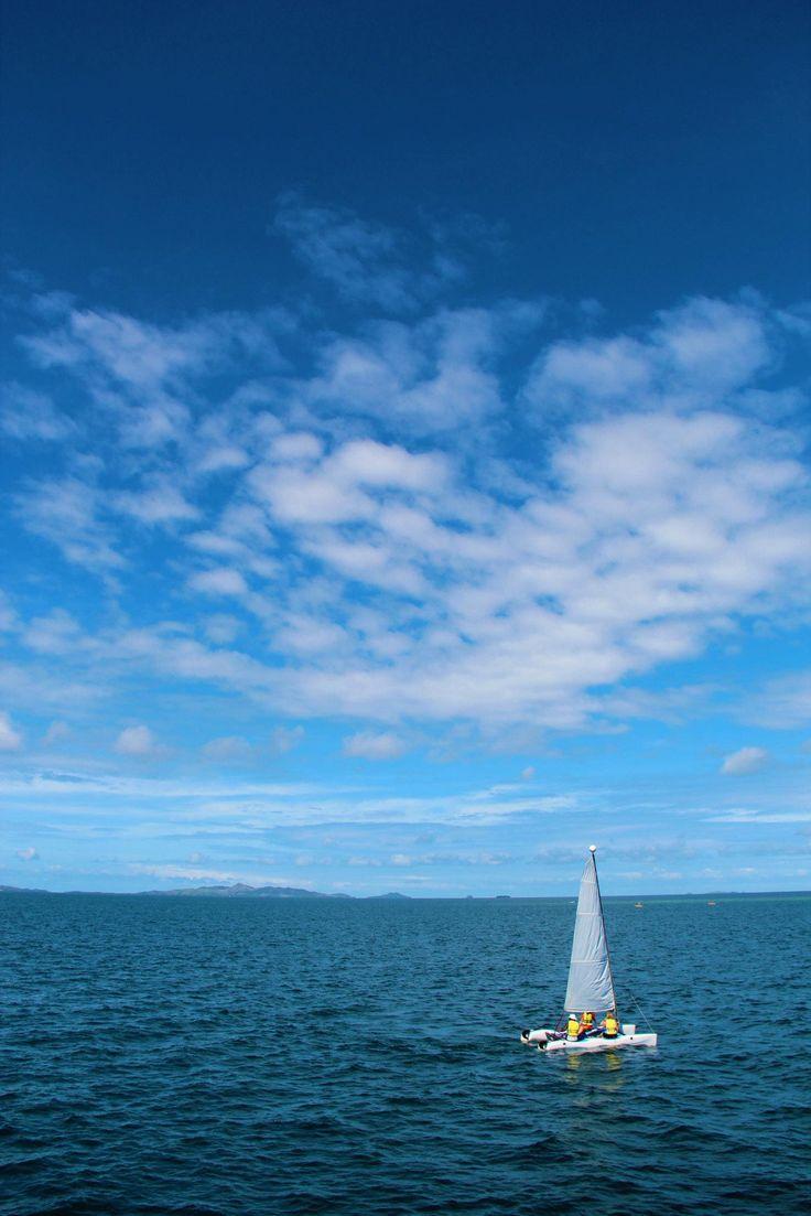 A catamaran in Nadi Bay, Fiji. (Near the Island where they filmed Castaway - Tom Hanks was nowhere to be found, but Wilson made an appearance). #chasbruns #daycruise #privateisland #fiji #whalestale #nadi bay #schoonerisland