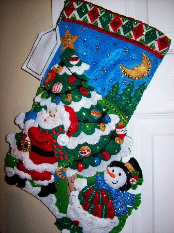 18 Inch Completed Bucilla Felt Applique Christmas Stocking - Tree Shopping - Snowman - Christmas Lights and Decorations #3D #Christmas #stockings www.loveitsomuch.com