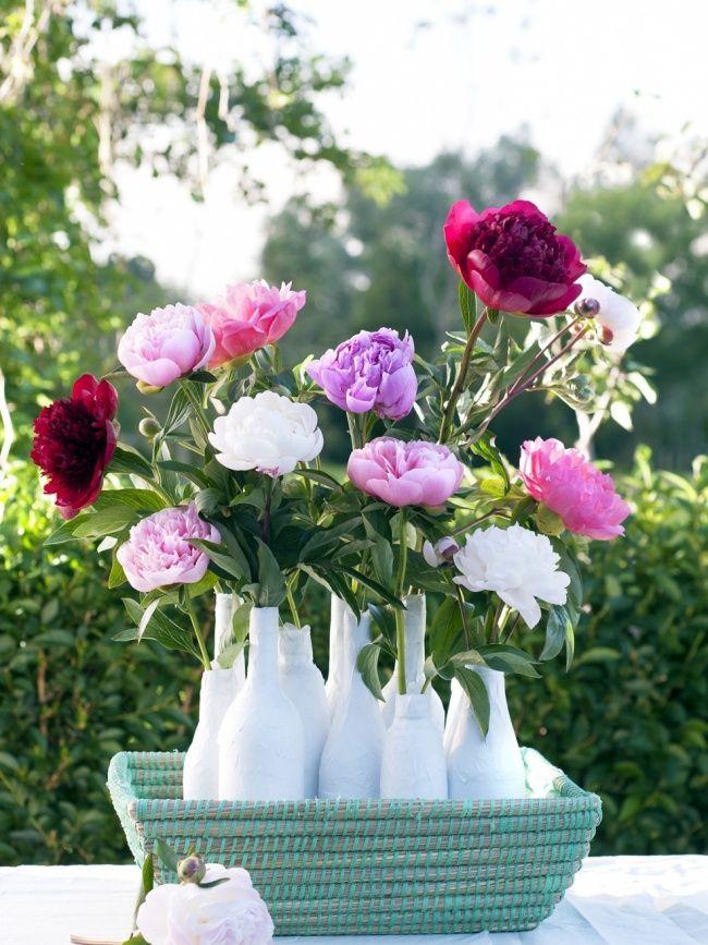 Peony, Pioenroos, Pink, White, Purple, Vase, Vaas, Roze, wit, paars, Bloemen, Flowers, Boeket, Bouquet.