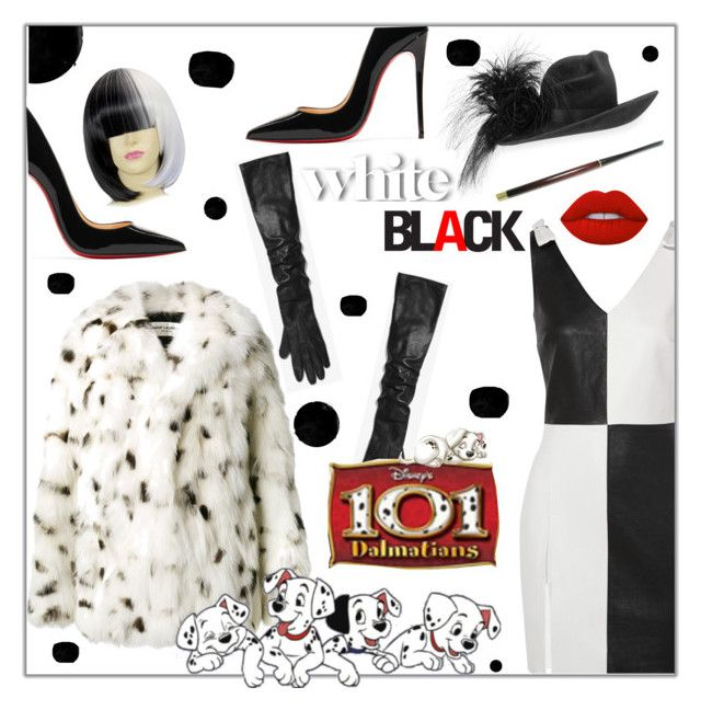 """""""Cruella Deville Halloween costume"""" by styledbytrell on Polyvore featuring Yves Saint Laurent, Philip Treacy, Michael Kors, Disney, Christian Louboutin and Lime Crime"""
