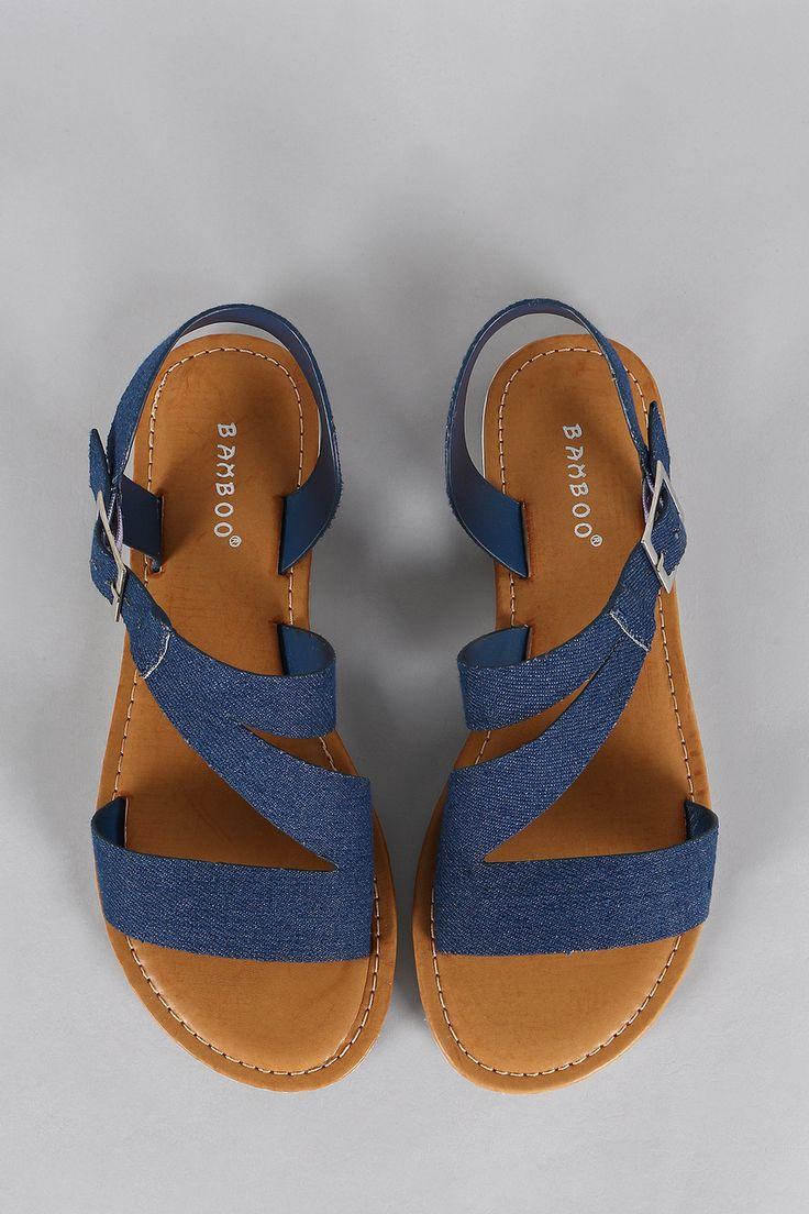 Bamboo Denim Buckle Slingback Open Toe Flat Sandal