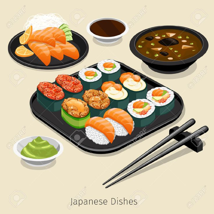 Japanese Food Set. Tasty Menu, Rice And Roll, Ingredient And.. Royalty Free…
