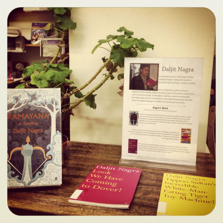 Display celebrating a visit to college by poet Daljit Nagra!