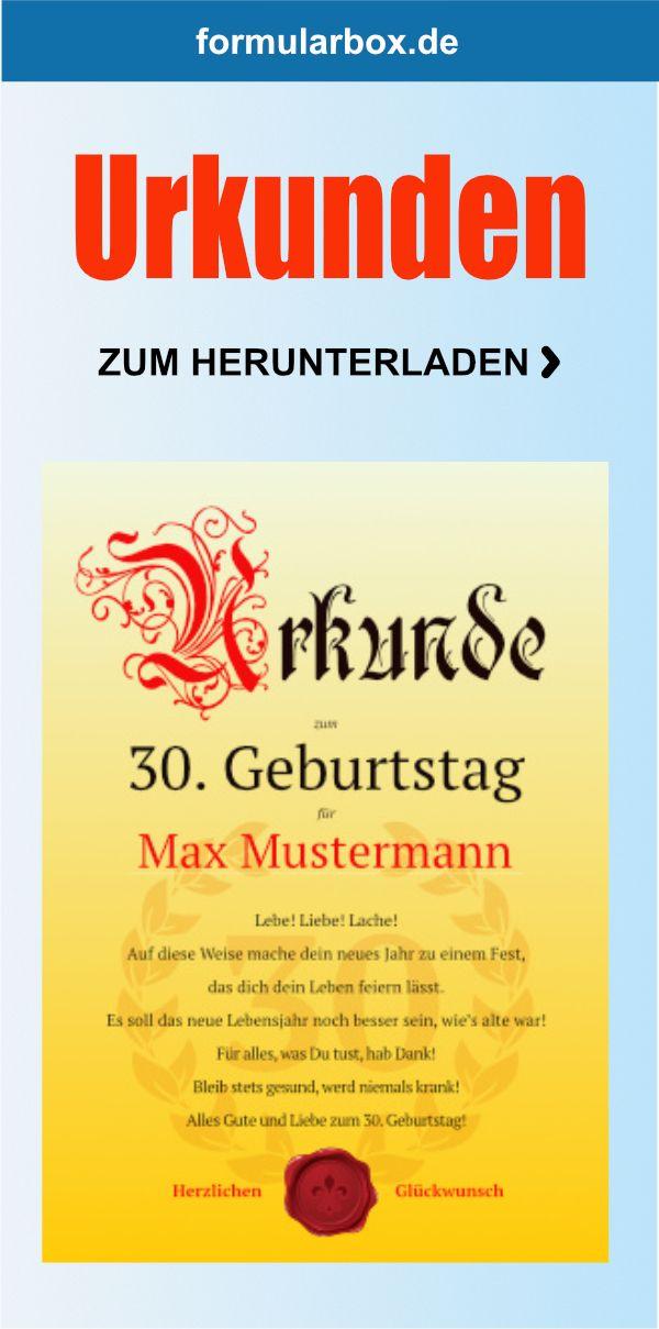 Urkunde Zum 30 Geburtstag Lebe Urkunde Urkunden Selbst