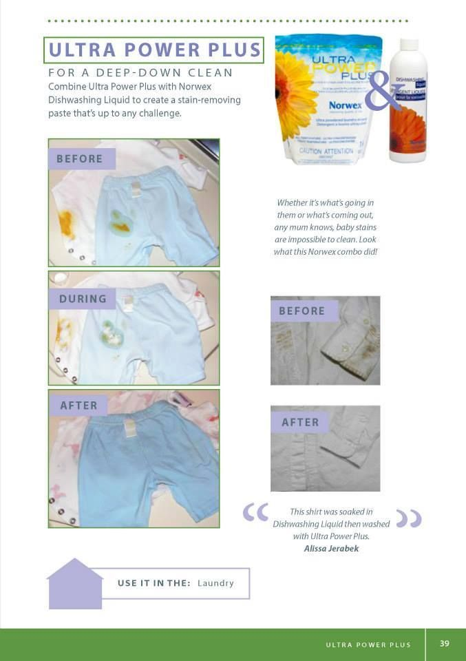 Norwex Ultra Power Plus Laundry Detergent and Norwex Dish Liquid before and after shot