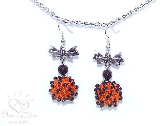 Orange Black EARRINGS SALE Halloween Party Jewelry Seed