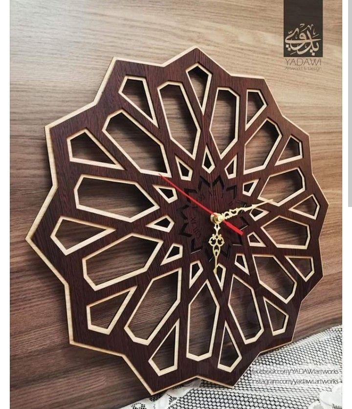 حفر خشب مفرغ ليزر ساعه برواز نقش شرقي عربي إسلامي مغربي تراث طراز Diy Clock Wall Art Deco Door Glitter Wallpaper
