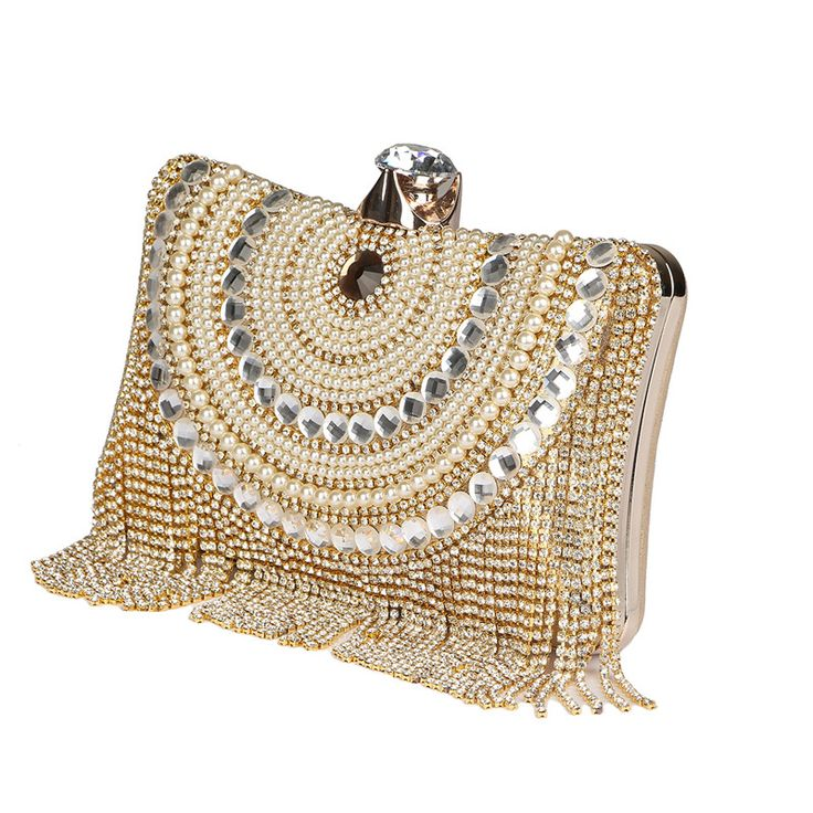 2017 Luxury Beaded Evening Clutch Bags Long Tassel Ladies Shoulder Chain Bag Wedding Party Purse Evening Bag Day Clutches L897