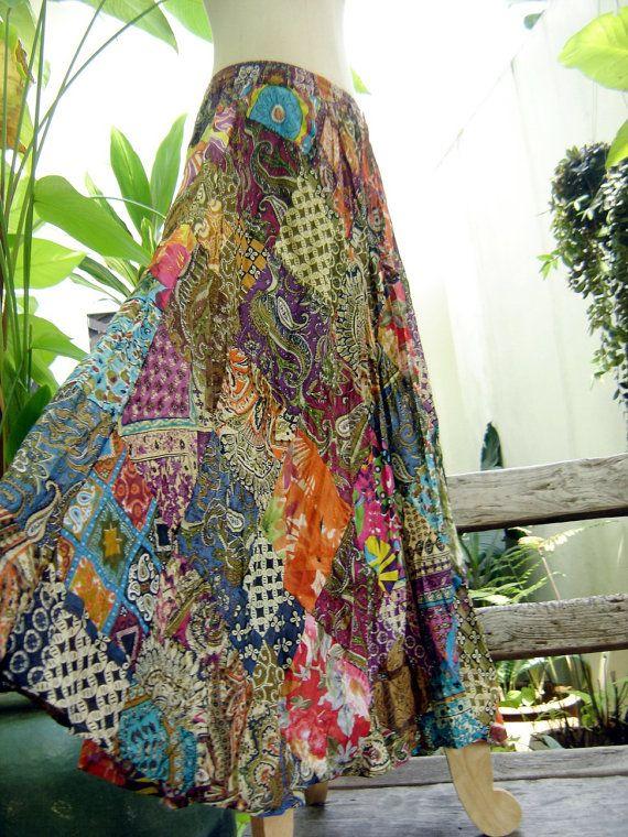 Floral Print Thai Soft Cotton Patchwork Boho Skirt - elastic waist OM0403    This beautiful Boho patchwork piece made of floral printed soft