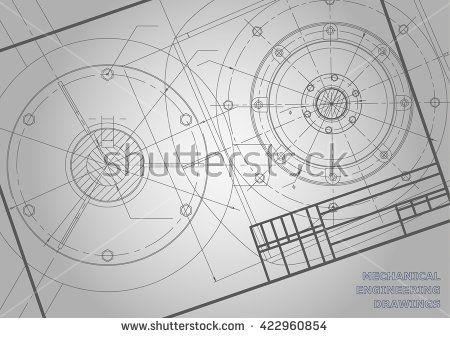 Gray Mechanical engineering drawings. Background for inscription. Vector. Frame. Corporate Identity  #bubushonok #art #bubushonokart #design #vector #shutterstock  #technical #engineering #drawing #blueprint   #technology #mechanism #draw #industry #construction #cad