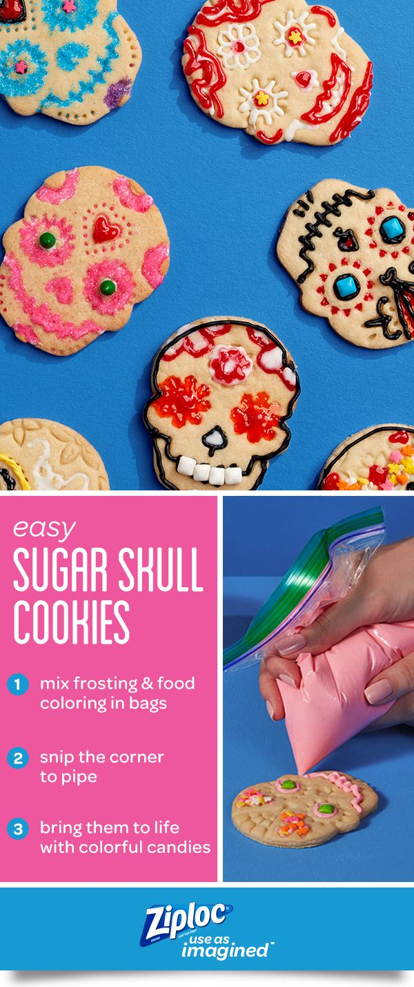 As Day of the Dead, or Dia de los Muertos approaches, prep ahead with these sugar skull cookies. The recipe includes an easy DIY craft tutorial for kids and teens. And you won't need to run to the store for special tools. With a little imagination and a Ziploc® seal top bag, you don't need to buy professional tools to try out different piping techniques. This dessert is great for to Halloween parties. Learn how to make these treats with cookie cutters or stamps and add fun candy decorations.