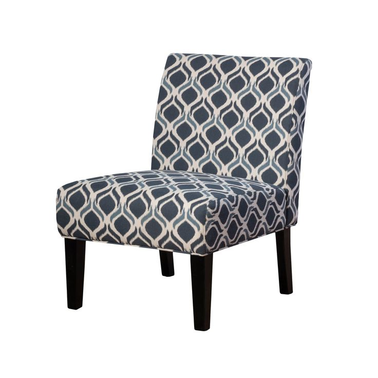 Kassi upholstered armless accent chair set of 2 blue