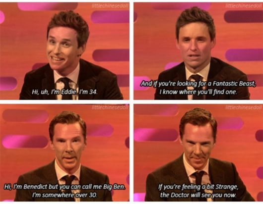 Two kinda of people: Eddie Redmayne spins resigned to the fact that he is even saying it, Benedict Cumberbatch totally owns it