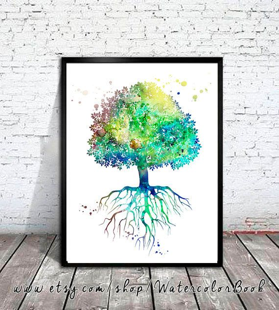Tree of life Watercolor Painting art Print, Tree of life art, nature art, Home Decor, Illustration print, Forest print, tree art