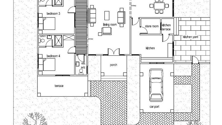 Ohene house plan ghana architects ghana house plans for Three bedroom house plan in ghana