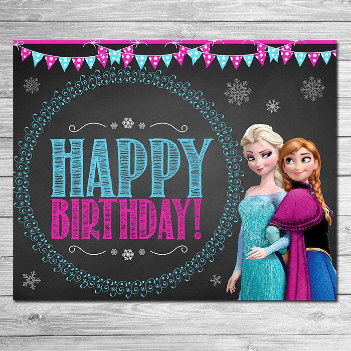 Frozen Birthday Sign Chalkboard // Frozen Birthday Party // Frozen Chalkboard Sign // Printable Frozen Party Favors by ItsACowsOpinion on Etsy https://www.etsy.com/listing/210563468/frozen-birthday-sign-chalkboard-frozen